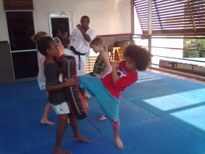 Kyokushin karate kids at the PNG MOKKA Dojo