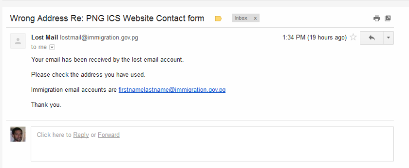 The lost email message from the Immigration Services