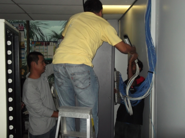 Huawei sub-contractors installing the hardware