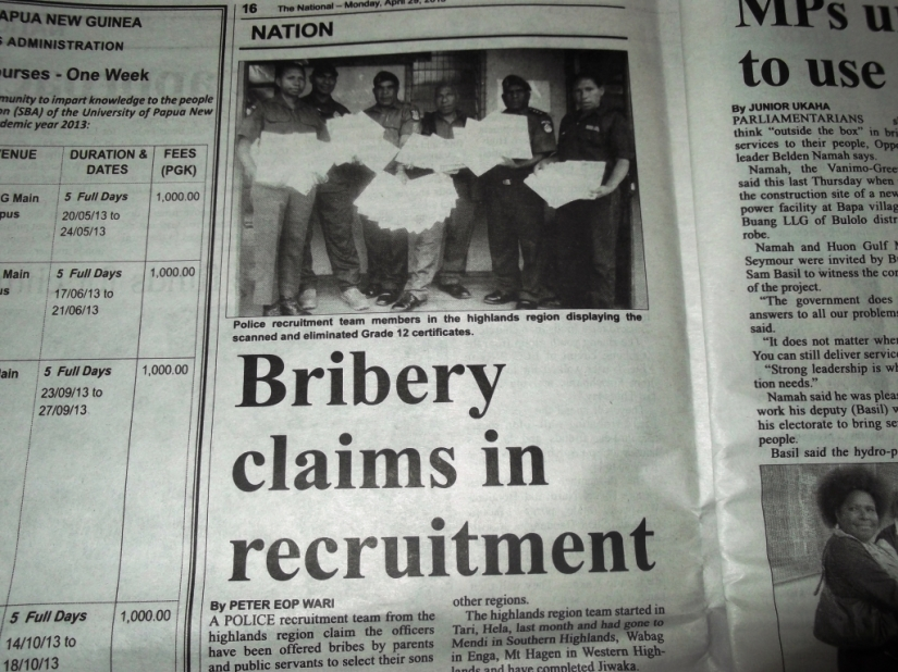 Bribery claims in police recruitment only the tip of the iceberg