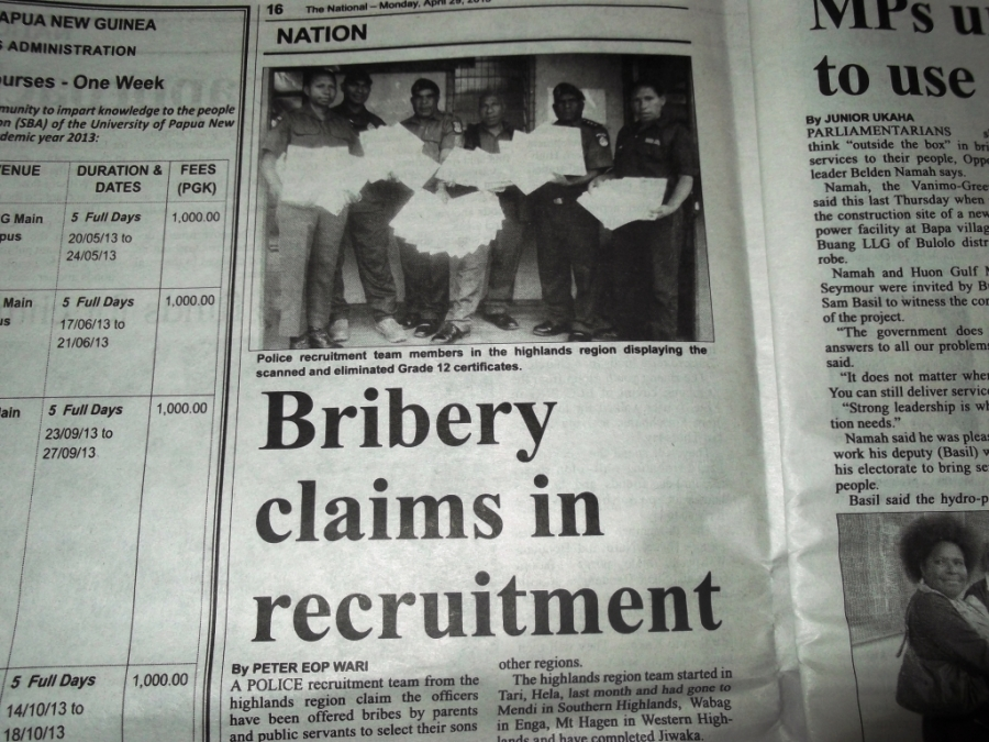 Bribery claims in police recruitment only the tip of theiceberg