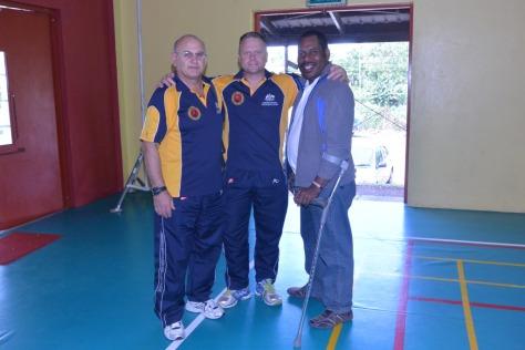 PNGKF President Carl Mari (right) with members of the Australian team.