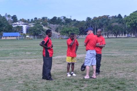 The male kata team getting final pointers Sensei Trevor.